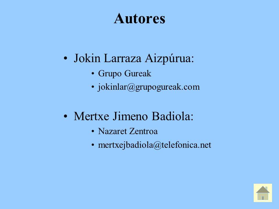 Autores Jokin Larraza Aizpúrua: Mertxe Jimeno Badiola: Grupo Gureak
