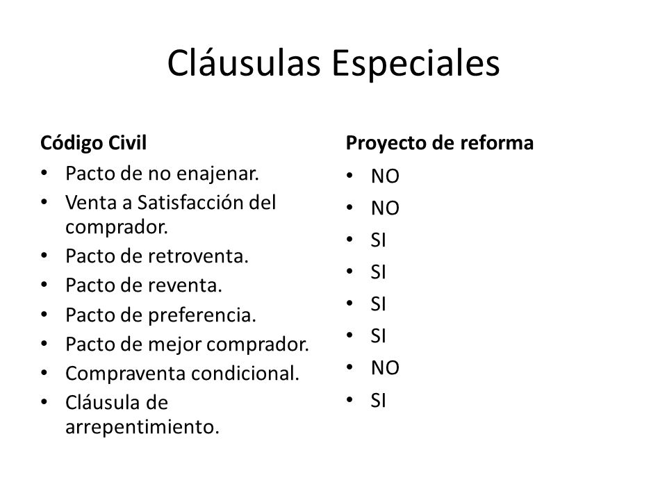 Cláusulas Especiales Código Civil Proyecto de reforma