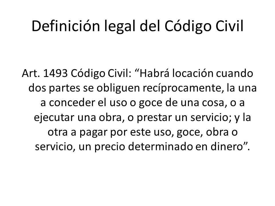 Definición legal del Código Civil