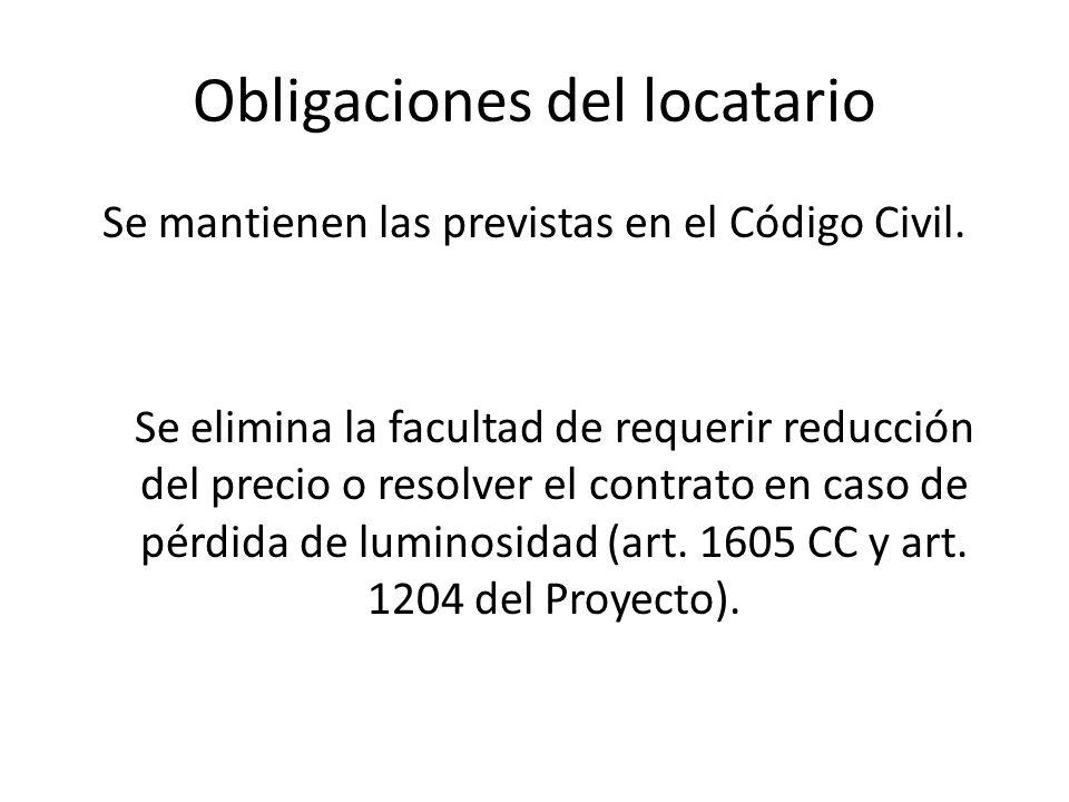 Obligaciones del locatario