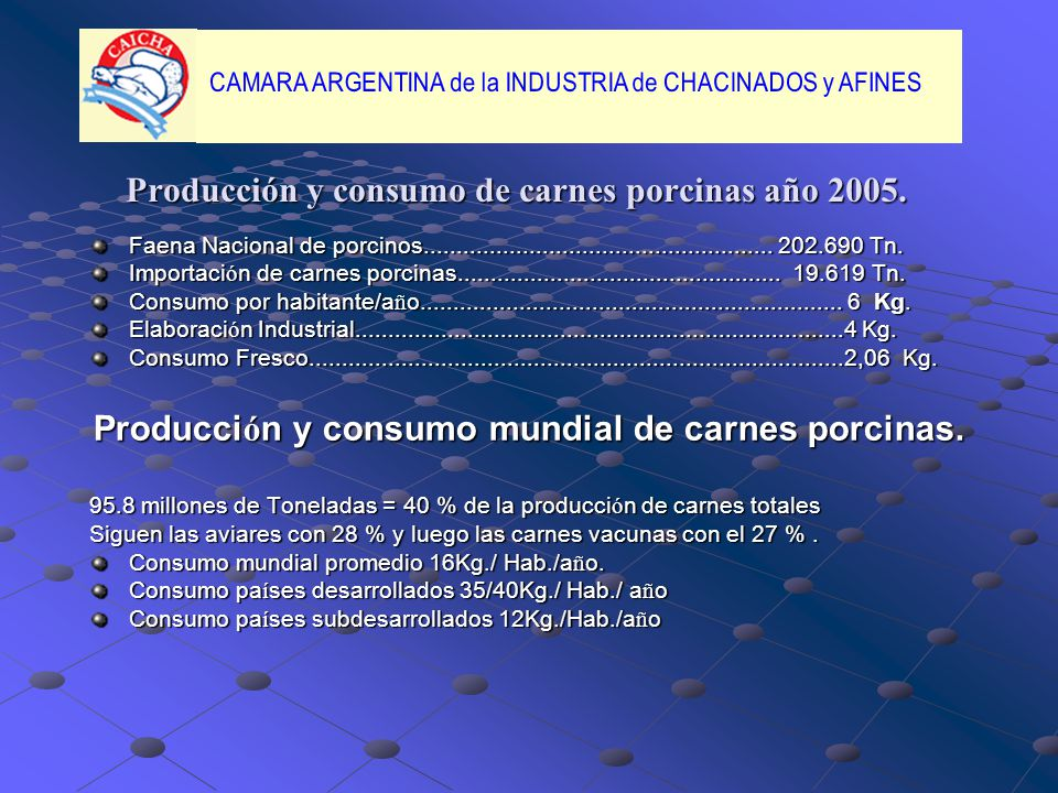 Producción y consumo de carnes porcinas año 2005.