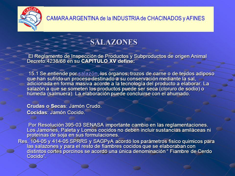 SALAZONES El Reglamento de Inspección de Productos y Subproductos de origen Animal Decreto:4238/68 en su CAPITULO XV define:
