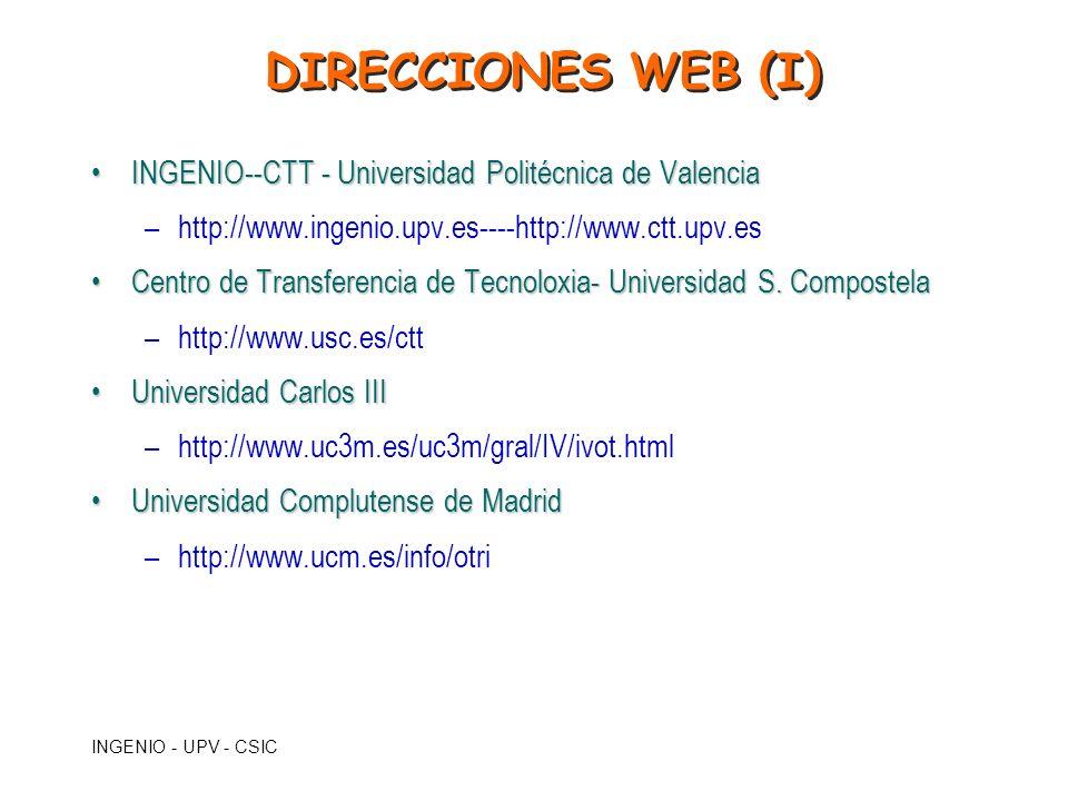 DIRECCIONES WEB (I) INGENIO--CTT - Universidad Politécnica de Valencia