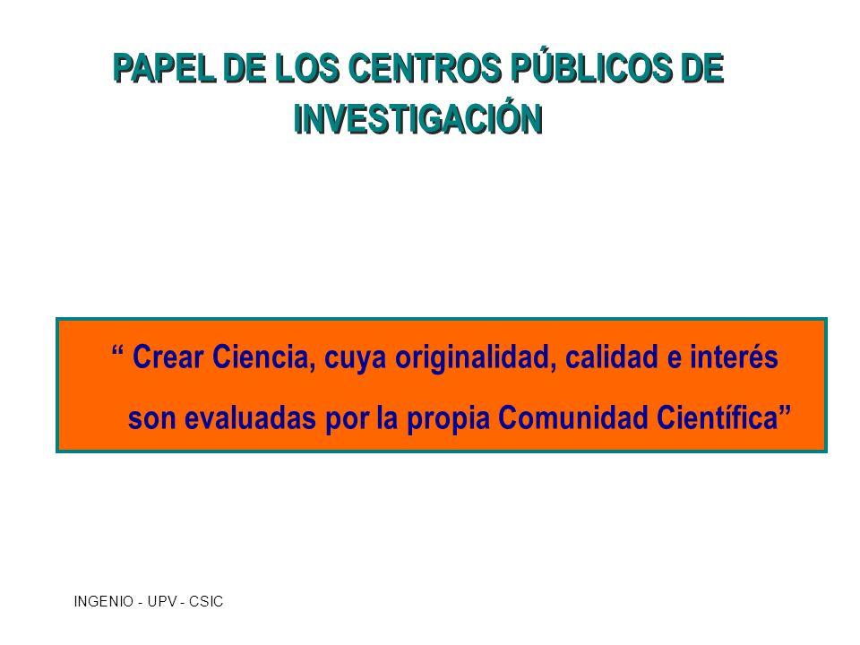PAPEL DE LOS CENTROS PÚBLICOS DE INVESTIGACIÓN