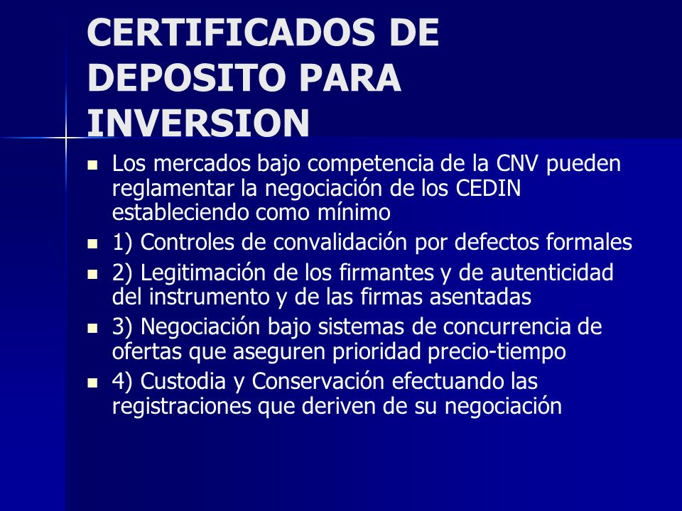 CERTIFICADOS DE DEPOSITO PARA INVERSION