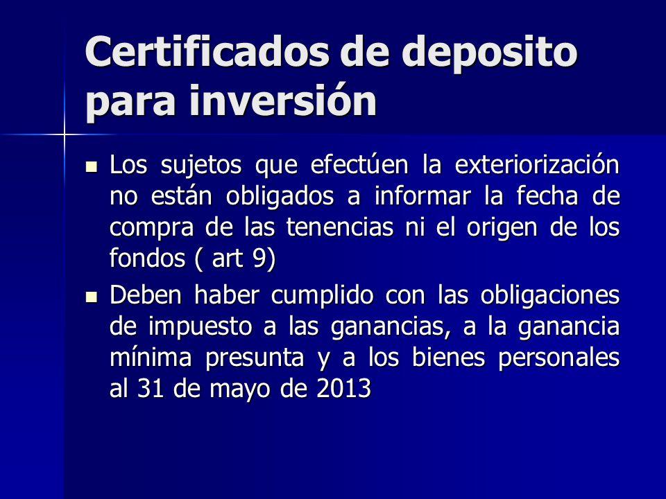 Certificados de deposito para inversión