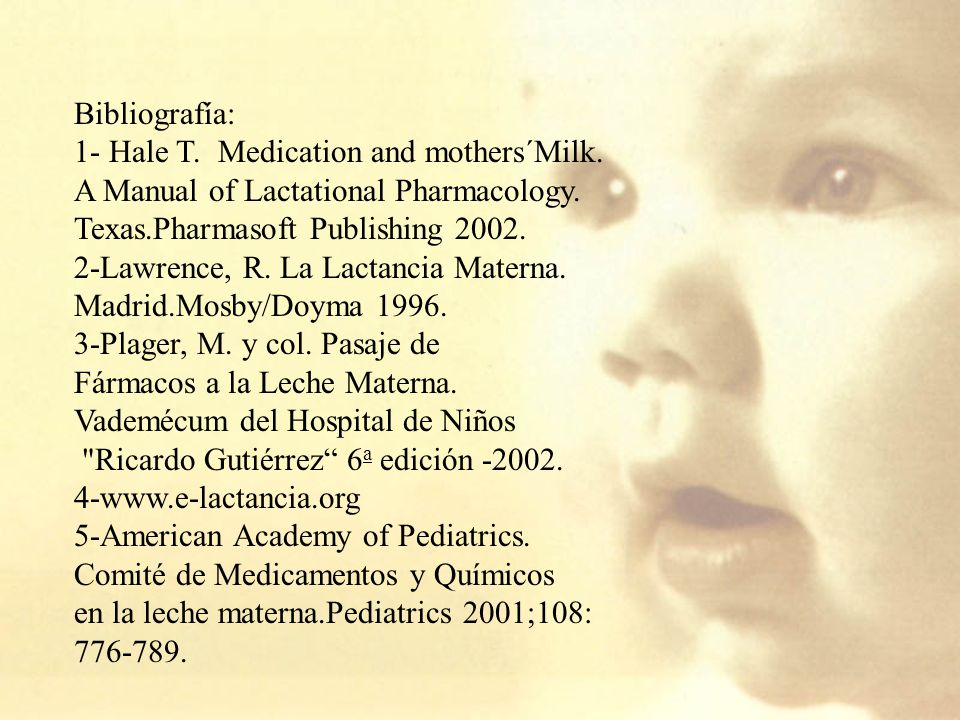 Bibliografía: 1- Hale T. Medication and mothers´Milk. A Manual of Lactational Pharmacology. Texas.Pharmasoft Publishing 2002.