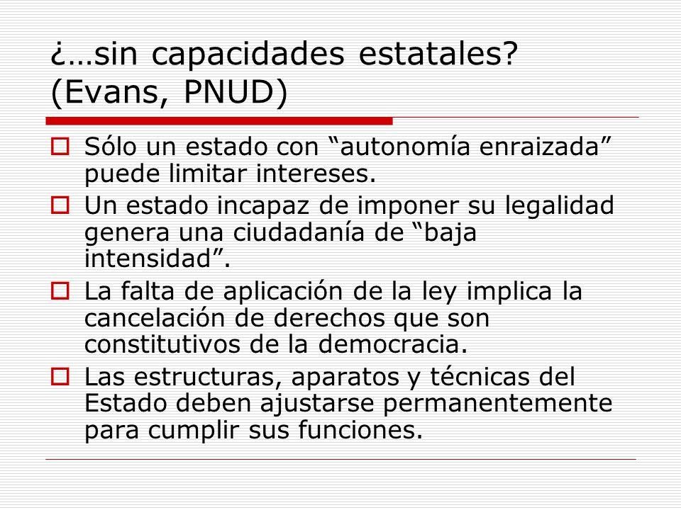 ¿…sin capacidades estatales (Evans, PNUD)