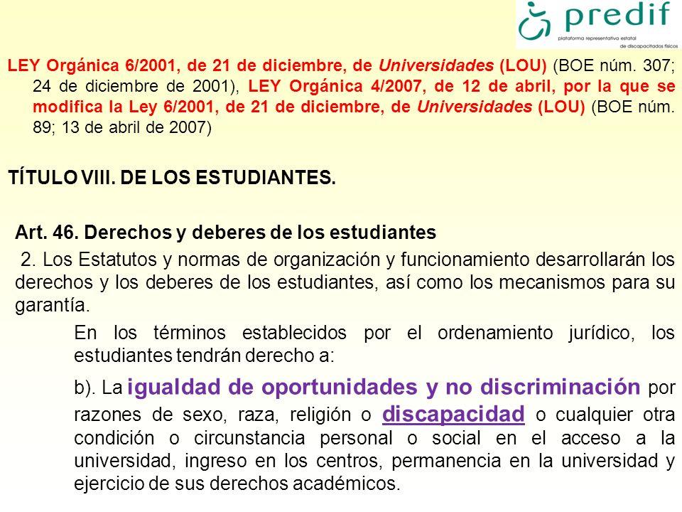 TÍTULO VIII. DE LOS ESTUDIANTES.