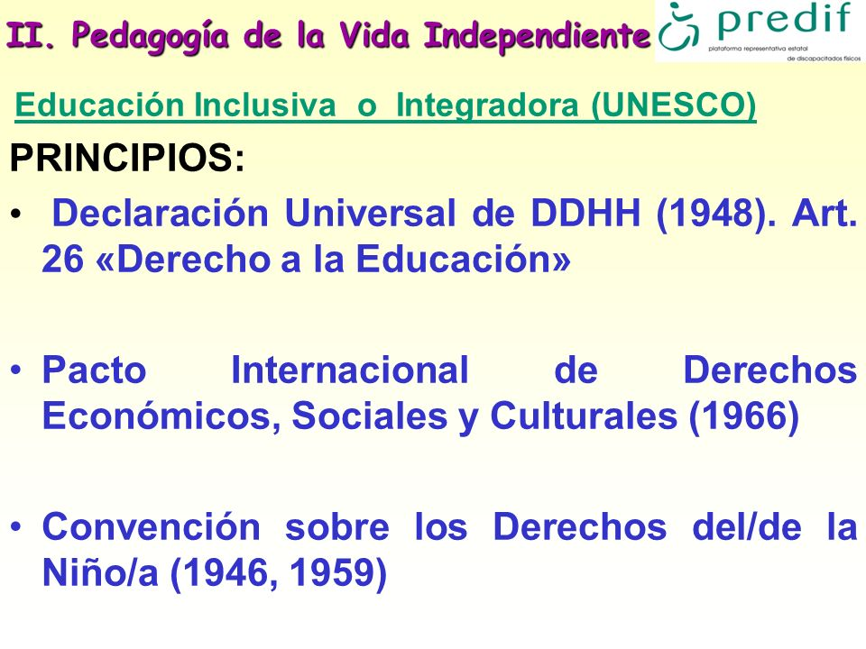 II. Pedagogía de la Vida Independiente