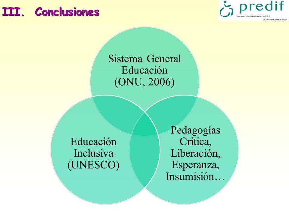 III. Conclusiones 22 Sistema General Educación (ONU, 2006)