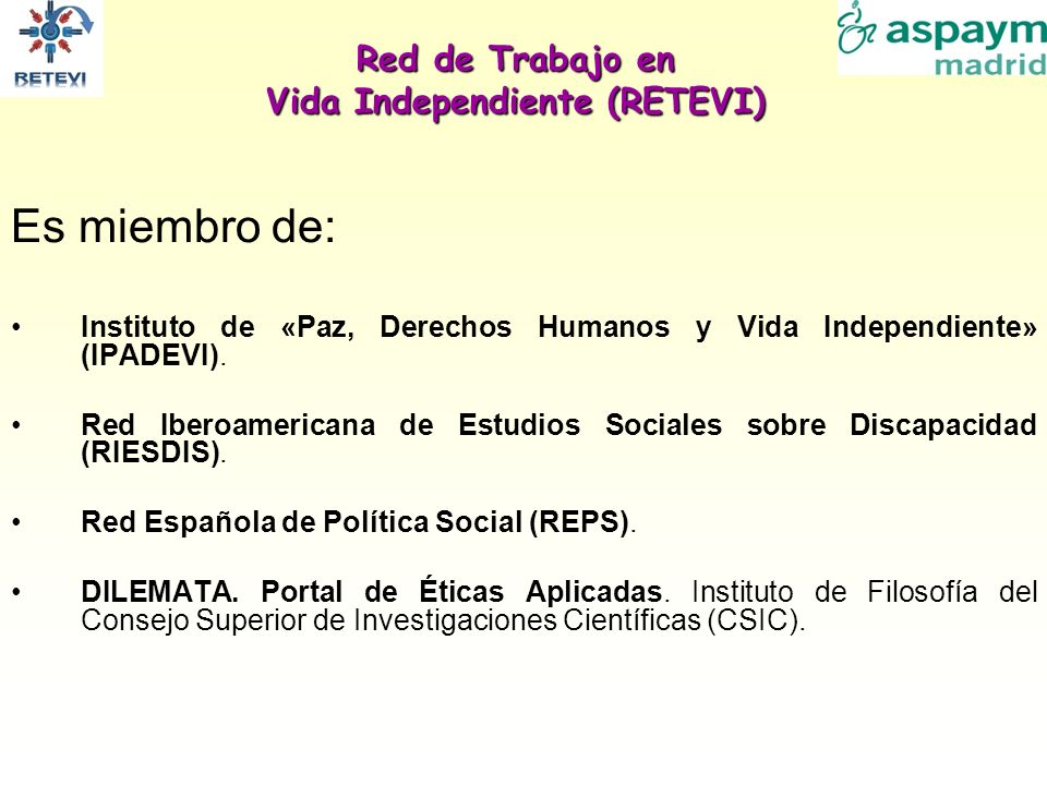 Red de Trabajo en Vida Independiente (RETEVI)