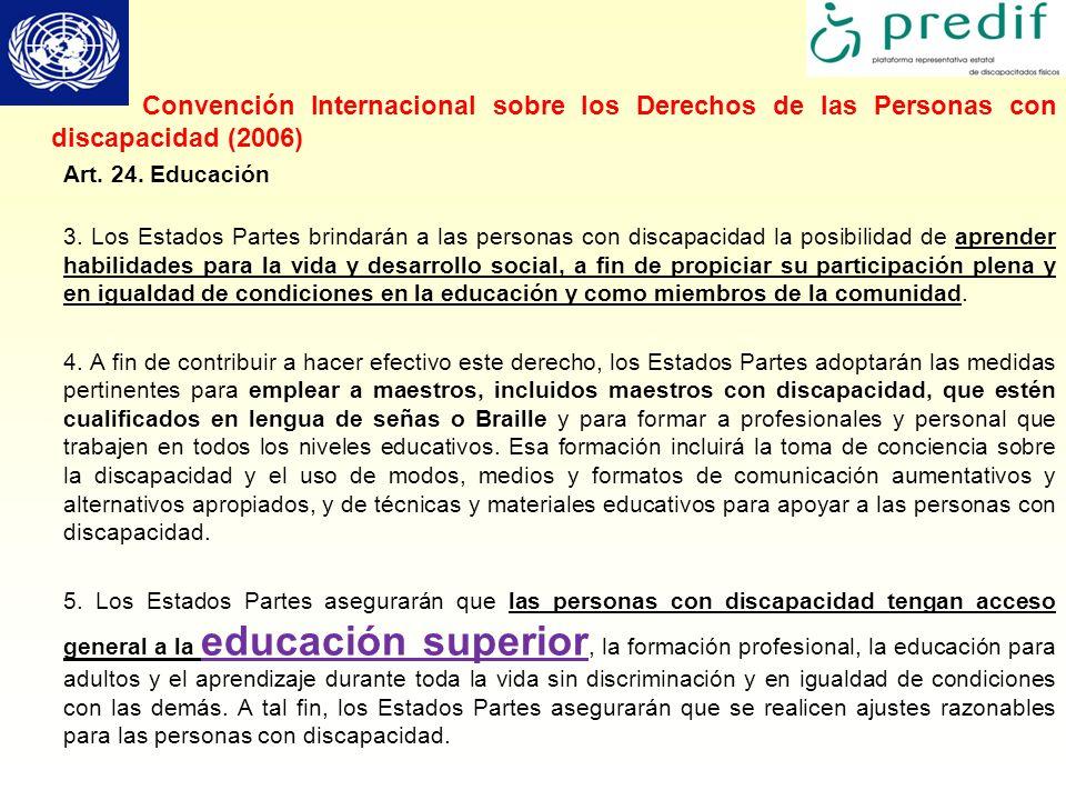 Convención Internacional sobre los Derechos de las Personas con discapacidad (2006)