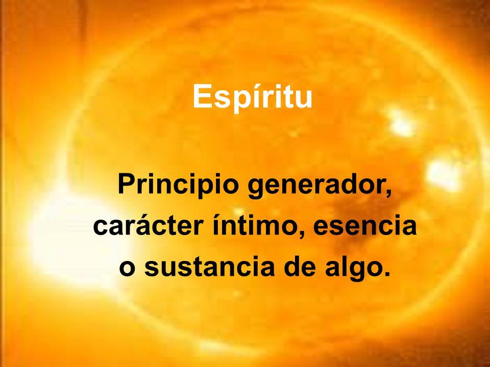 Principio generador, carácter íntimo, esencia o sustancia de algo.