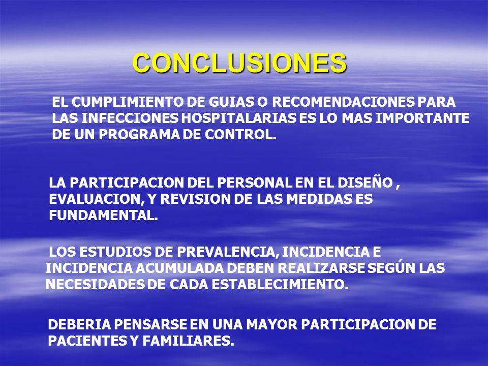 CONCLUSIONES EL CUMPLIMIENTO DE GUIAS O RECOMENDACIONES PARA