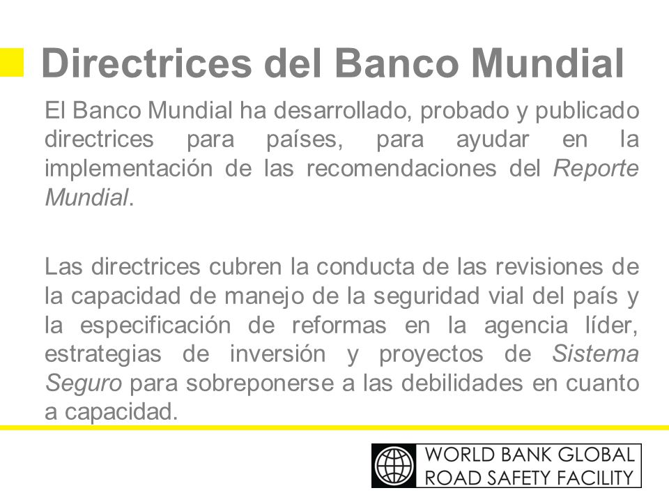 Directrices del Banco Mundial