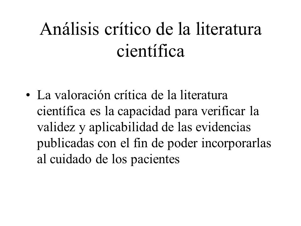 Análisis crítico de la literatura científica
