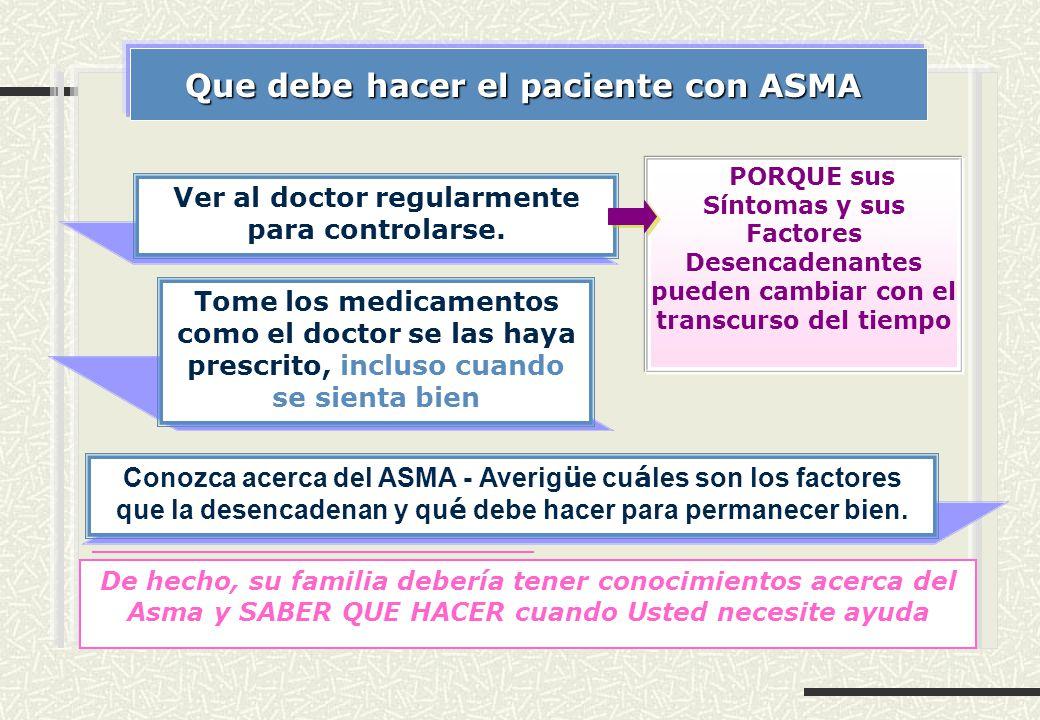 Que debe hacer el paciente con ASMA