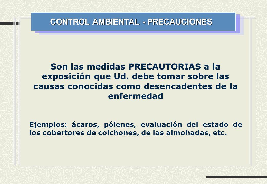 CONTROL AMBIENTAL - PRECAUCIONES