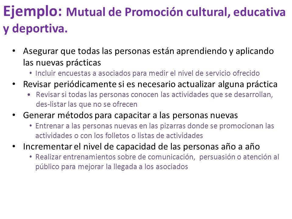 Ejemplo: Mutual de Promoción cultural, educativa y deportiva.