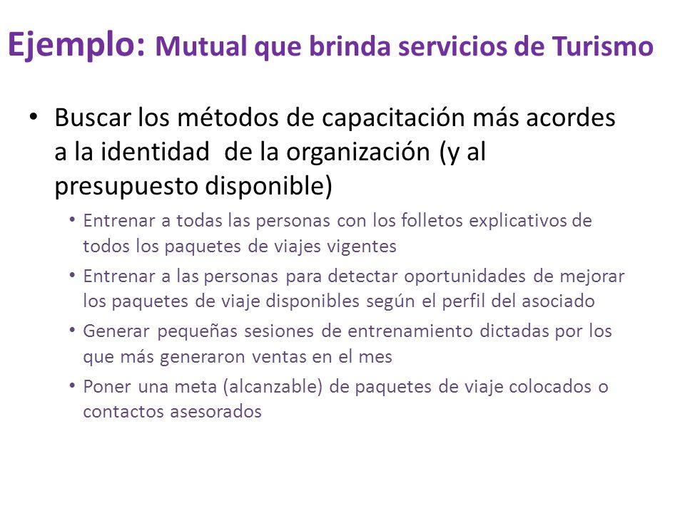 Ejemplo: Mutual que brinda servicios de Turismo