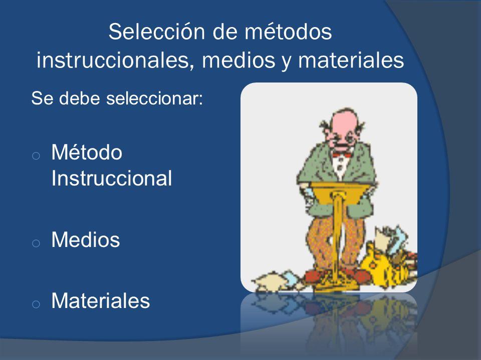 Selección de métodos instruccionales, medios y materiales
