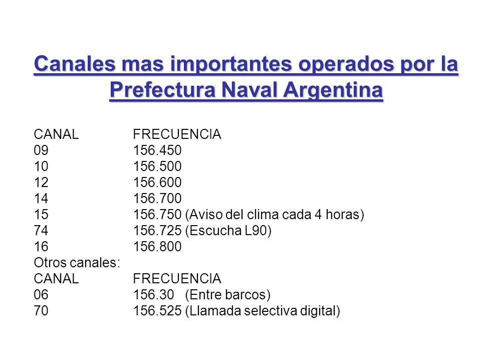 Canales mas importantes operados por la Prefectura Naval Argentina