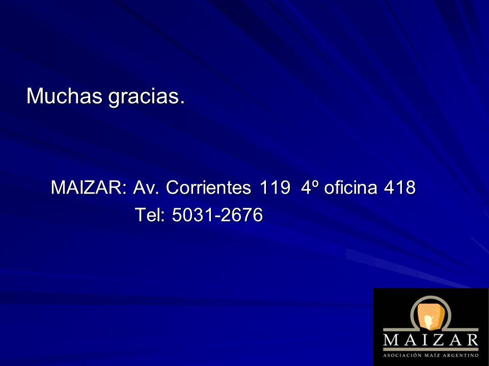 Muchas gracias. MAIZAR: Av. Corrientes 119 4º oficina 418
