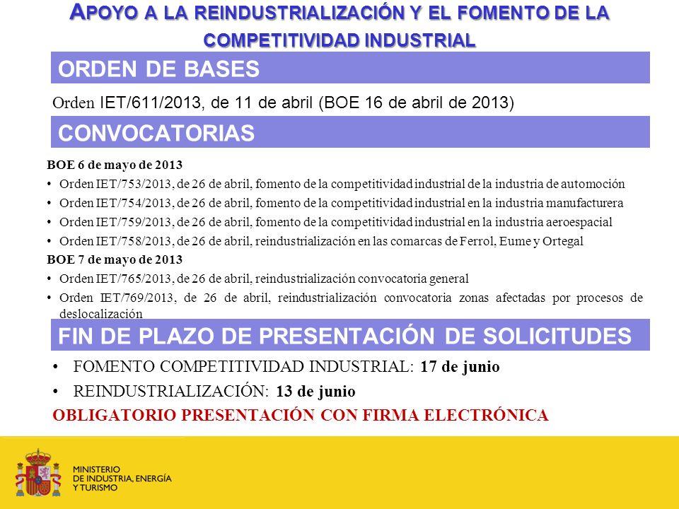 Orden IET/611/2013, de 11 de abril (BOE 16 de abril de 2013)