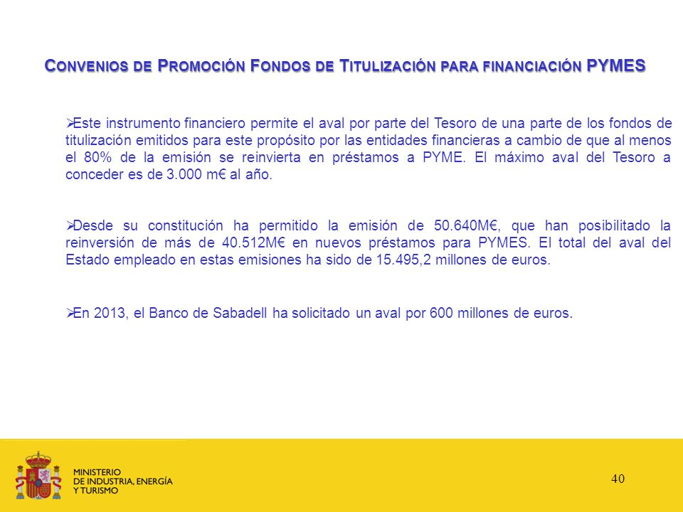Convenios de Promoción Fondos de Titulización para financiación PYMES