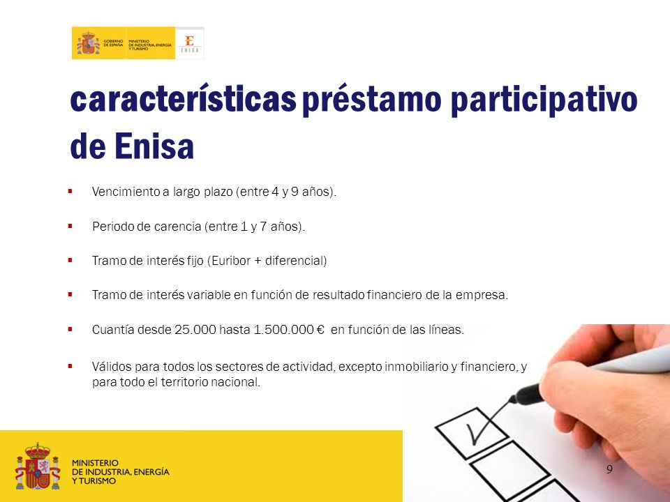 características préstamo participativo de Enisa