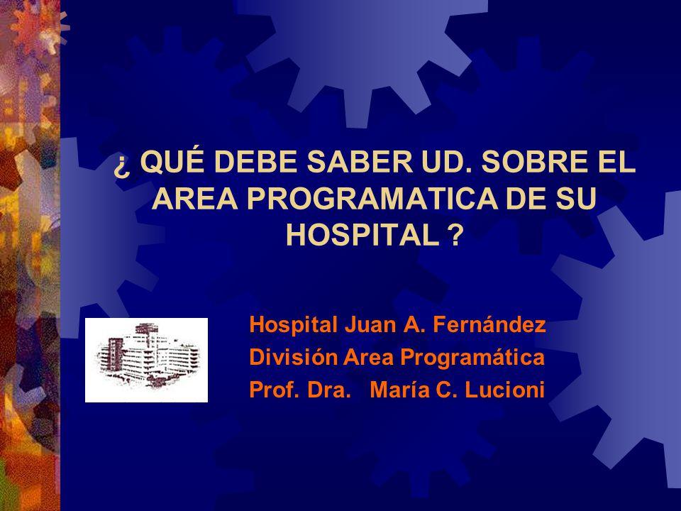 ¿ QUÉ DEBE SABER UD. SOBRE EL AREA PROGRAMATICA DE SU HOSPITAL