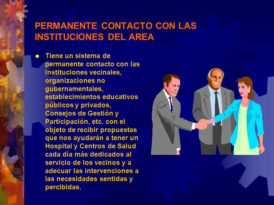 PERMANENTE CONTACTO CON LAS INSTITUCIONES DEL AREA