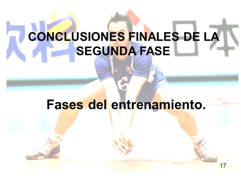 CONCLUSIONES FINALES DE LA SEGUNDA FASE Fases del entrenamiento.