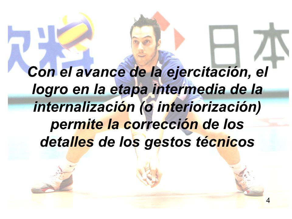 Con el avance de la ejercitación, el logro en la etapa intermedia de la internalización (o interiorización) permite la corrección de los detalles de los gestos técnicos