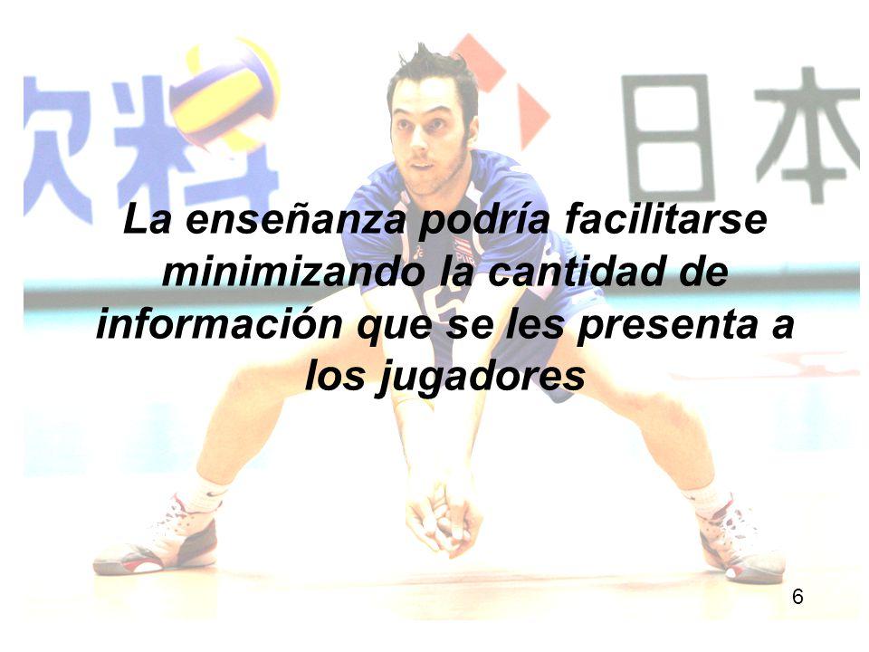 La enseñanza podría facilitarse minimizando la cantidad de información que se les presenta a los jugadores