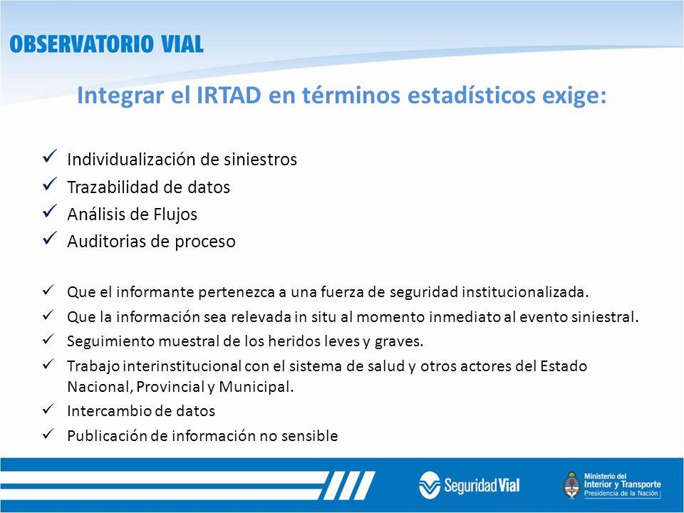 Integrar el IRTAD en términos estadísticos exige: