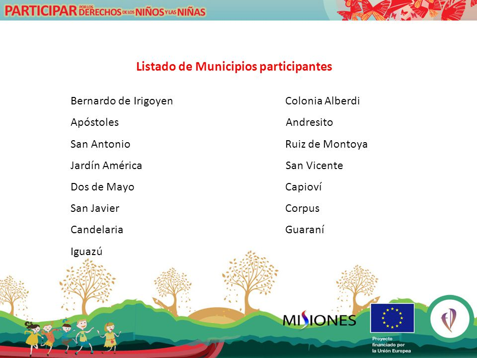 Listado de Municipios participantes