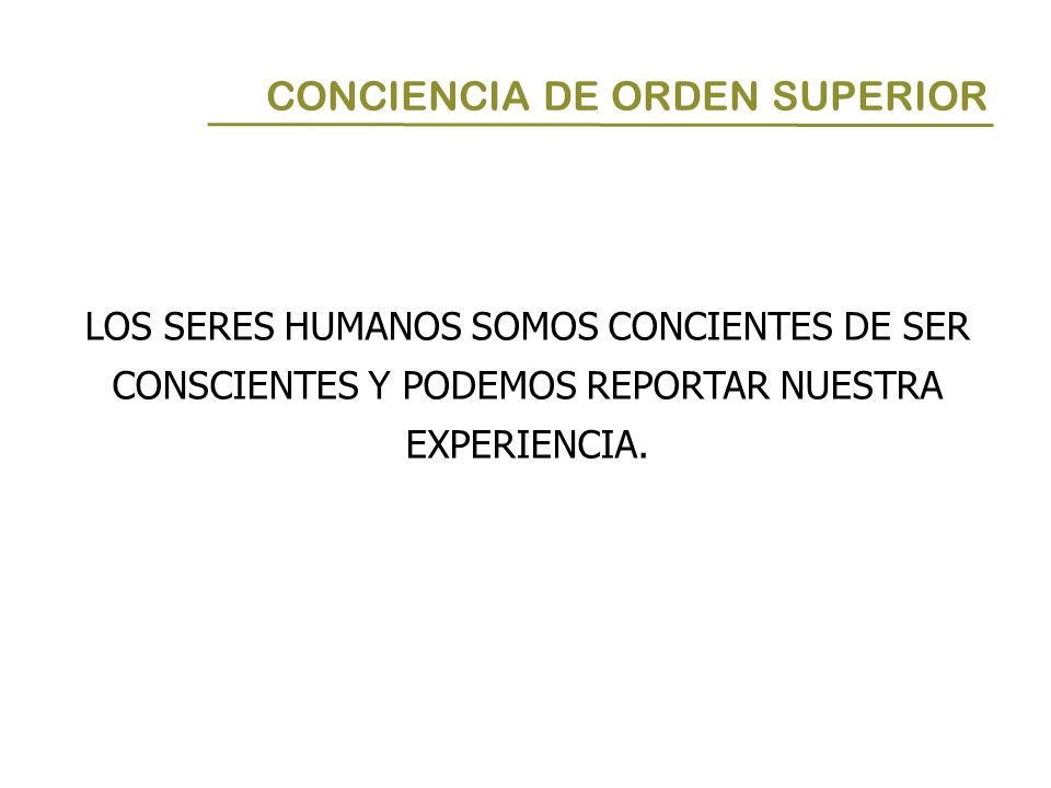 CONCIENCIA DE ORDEN SUPERIOR