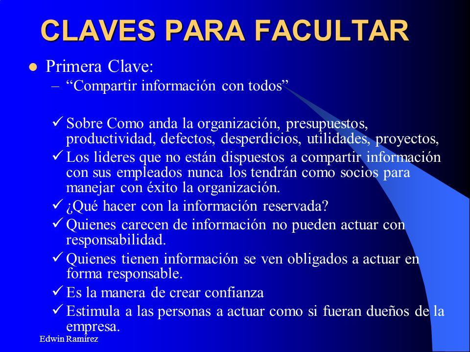 CLAVES PARA FACULTAR Primera Clave: Compartir información con todos