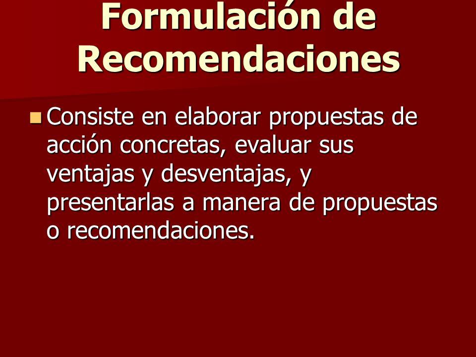 Formulación de Recomendaciones