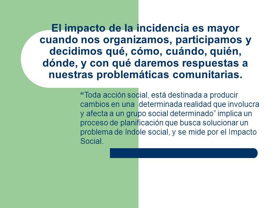 El impacto de la incidencia es mayor cuando nos organizamos, participamos y decidimos qué, cómo, cuándo, quién, dónde, y con qué daremos respuestas a nuestras problemáticas comunitarias.
