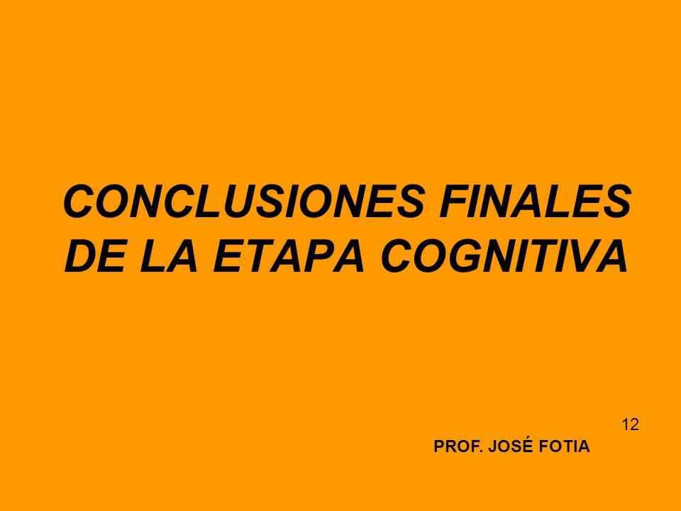 CONCLUSIONES FINALES DE LA ETAPA COGNITIVA