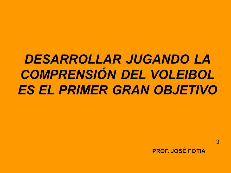 DESARROLLAR JUGANDO LA COMPRENSIÓN DEL VOLEIBOL ES EL PRIMER GRAN OBJETIVO