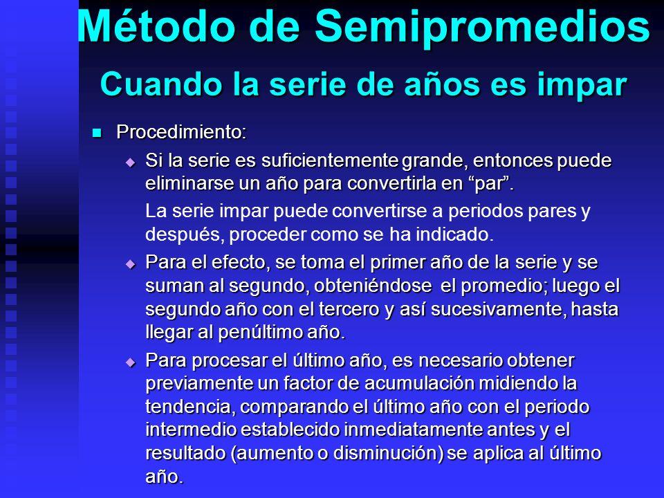 Método de Semipromedios Cuando la serie de años es impar
