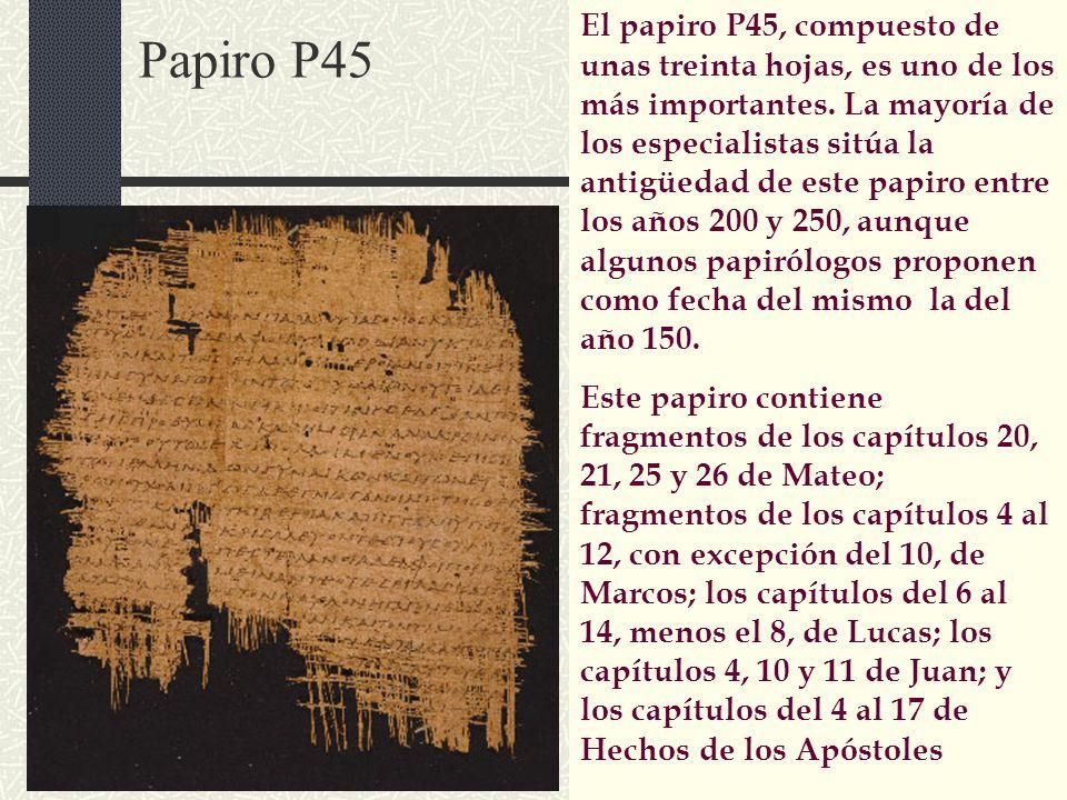 El papiro P45, compuesto de unas treinta hojas, es uno de los más importantes. La mayoría de los especialistas sitúa la antigüedad de este papiro entre los años 200 y 250, aunque algunos papirólogos proponen como fecha del mismo la del año 150.