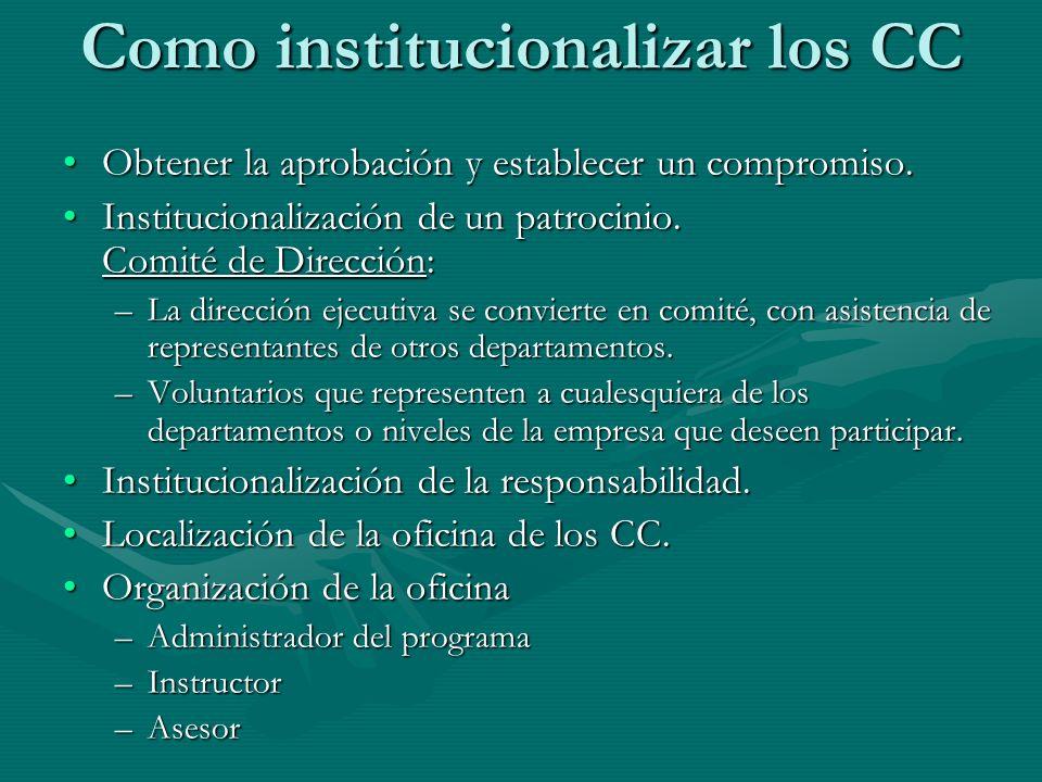 Como institucionalizar los CC