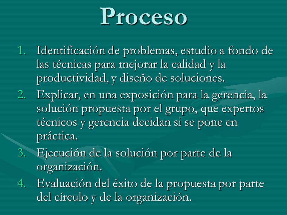 ProcesoIdentificación de problemas, estudio a fondo de las técnicas para mejorar la calidad y la productividad, y diseño de soluciones.