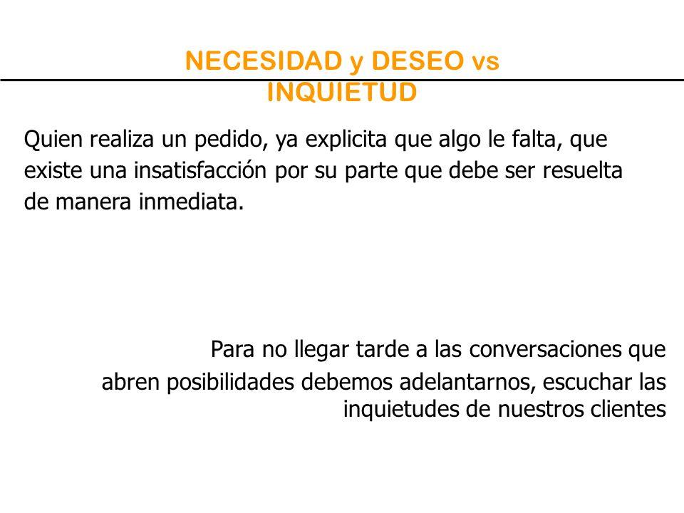 NECESIDAD y DESEO vs INQUIETUD