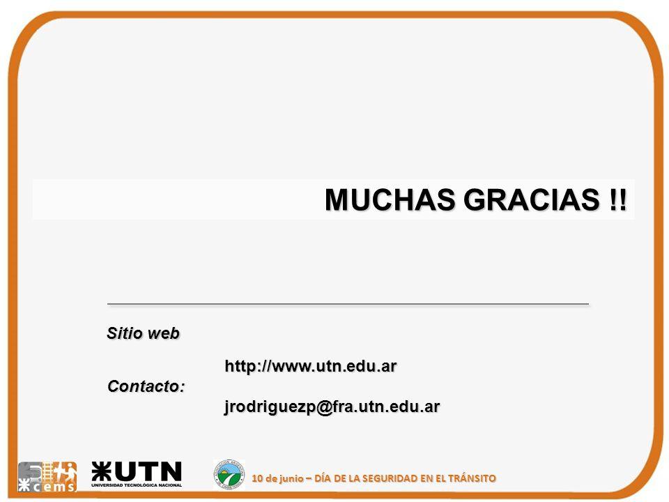 MUCHAS GRACIAS !! Sitio web http://www.utn.edu.ar Contacto: